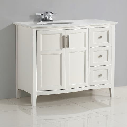WYNDENHALL Salem 42 inch Contemporary Bath Vanity with Bombay White Engineered Quartz Marble Extra Thick Top