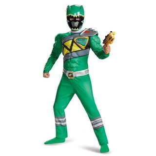 Boys Green Ranger Dino Charge Classic Muscle Costume