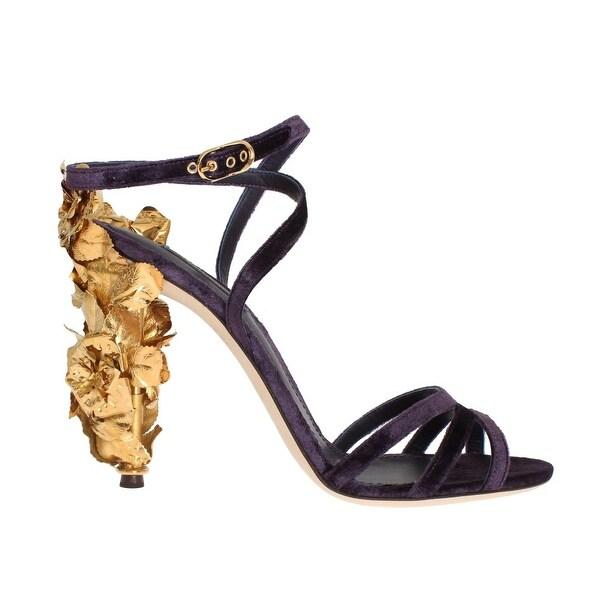 Shop Dolce   Gabbana Purple Velvet Gold Leaf Sandal Shoes - Free ... a449e0ca0d21