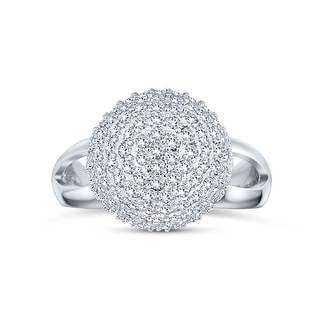 Link to Statement Pave CZ Disco Ball Ring Split Band 925 Sterling Silver Similar Items in Rings