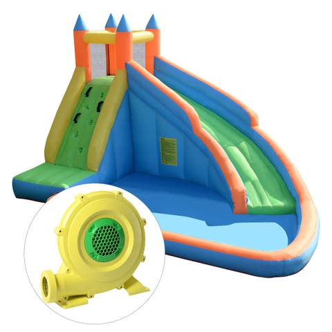 Goplus Inflatable Water Slide Mighty Bounce House Jumper Castle Moonwalk W/ 950W Blower