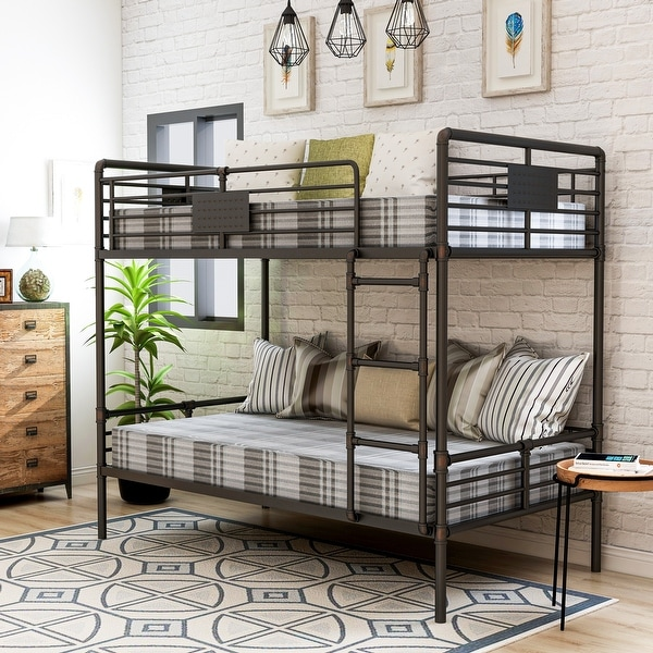 Furniture of America Wini Industrial Black Queen over Queen Bunk Bed. Opens flyout.