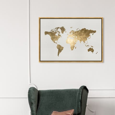 Oliver Gal 'Mapamundi Tiago Handmade' Maps and Flags Wall Art Framed Canvas Print World Maps - Gold, White