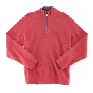 Tommy Bahama NEW Red Mens Size Medium M Reversible 1/2 Zip Sweater
