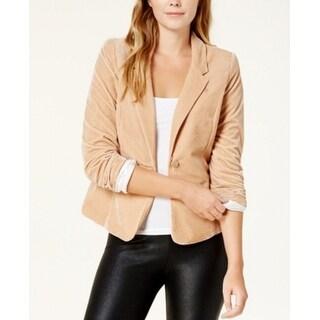 Kensie Sand Beige Womens Size XS Velvet One-Button Knit Blazer