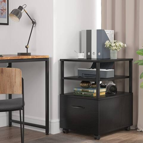 Rolling File Cabinet with Drawer, Mobile Office Filing Cabinet with 2 Open Shelves, Printer Stand