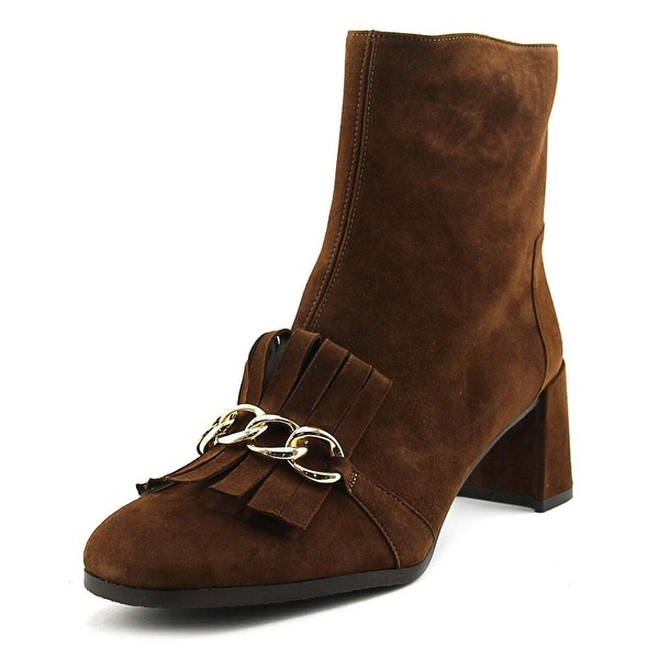 Stuart Weitzman Ringtone Women Square Toe Suede Brown Ankle Boot