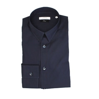 Versace Men Trend Dress Shirt Navy Blue