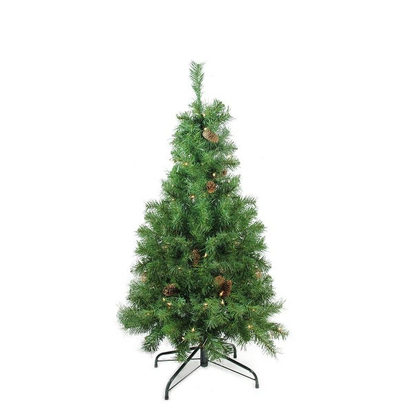 "4' x 30"" Pre-Lit Dakota Red Pine Full Artificial Christmas Tree - Clear Lights - green"