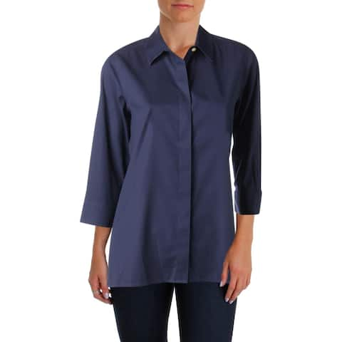 Foxcroft Womens Blouse Woven 3/4 Sleeves