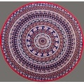 """Handmade 100% Cotton Elephant Mandala Floral 81"""" Round Tablecloth Navy Blue - Thumbnail 0"""