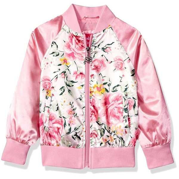 9000d74a5463 Shop Pink Platinum Girls 2T-4T Floral Satin Bomber Jacket - Free ...