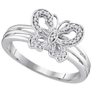 10kt Two-tone Gold Womens Round Natural Diamond Butterfly Bug Fashion Ring 1/8 Cttw - White