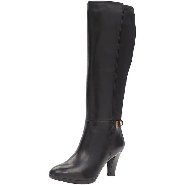 Anne Klein Womens Delray Leather Almond Toe Mid-Calf Fashion Boots