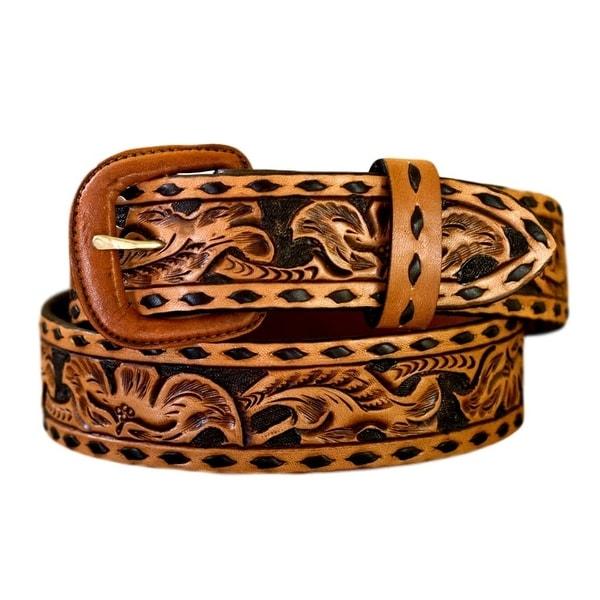 Vogt Silversmiths Western Belts Mens Floral Buck Stitch Russet