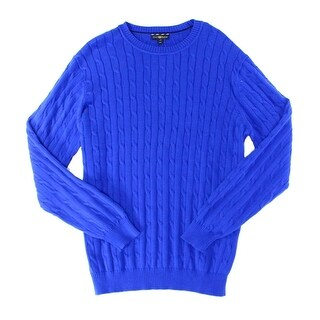 Club Room NEW Blue Lazulite Mens Large L Cable Knit Crewneck Sweater