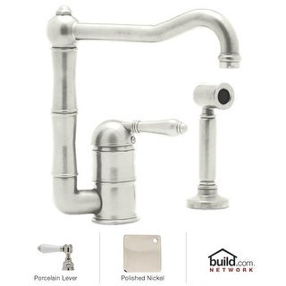 Rohl A3608LPWS-2 Country Kitchen Kitchen Faucet with Side Spray and Porcelain Le
