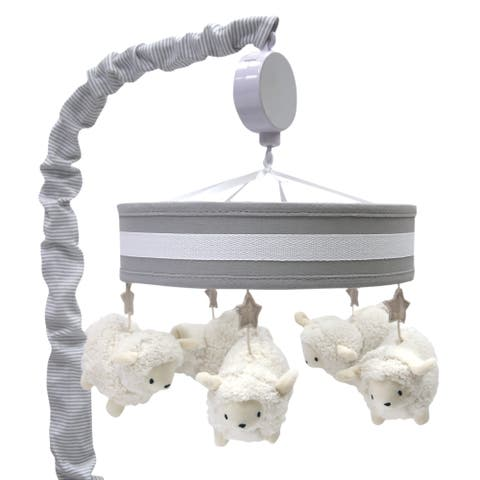 Lambs & Ivy Signature Goodnight Sheep Gray/White Musical Baby Crib Mobile