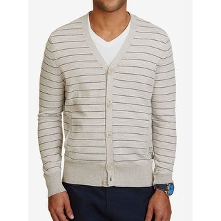 Nautica NEW Sand Beige Mens Size XL Ribbed Cardigan Striped Sweater