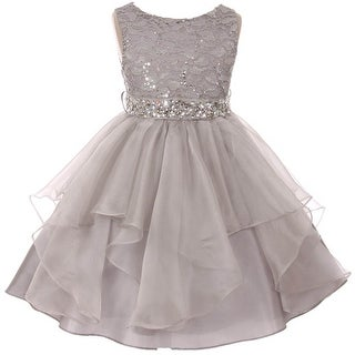 Flower Girl Dress Sequin Lace Top Ruffle Skirt Silver MBK 357