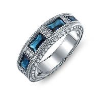 Bling Jewelry Deco Style Blue CZ Baguette Wedding Band Rhodium Plated