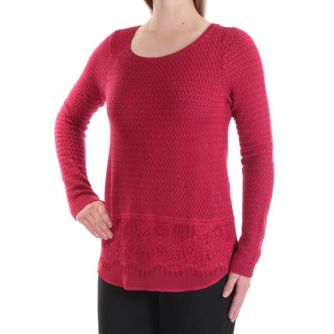 LUCKY BRAND Womens Red Lace Long Sleeve Jewel Neck Sweater Size: M