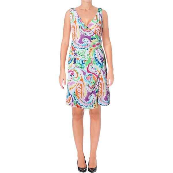 Lauren Ralph Lauren Womens Casual Dress Faux-Wrap Paisley Print