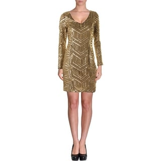 Aqua Womens Juniors Sequined Long Sleeves Cocktail Dress - 2
