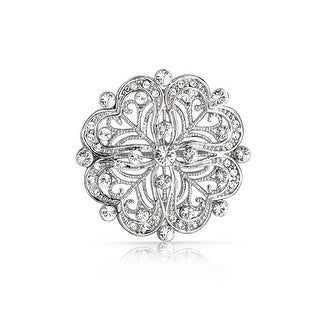 Bling Jewelry Vintage Style CZ Flower Pin Heart Brooch Rhodium Plated