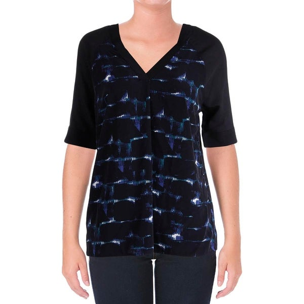 Calvin Klein Jeans Womens Pullover Top Satin Printed