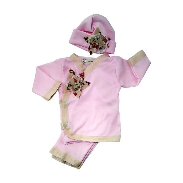 Nick and Nellie Baby Girls Blush 3 Piece Cotton Layette-Take Me Home Set