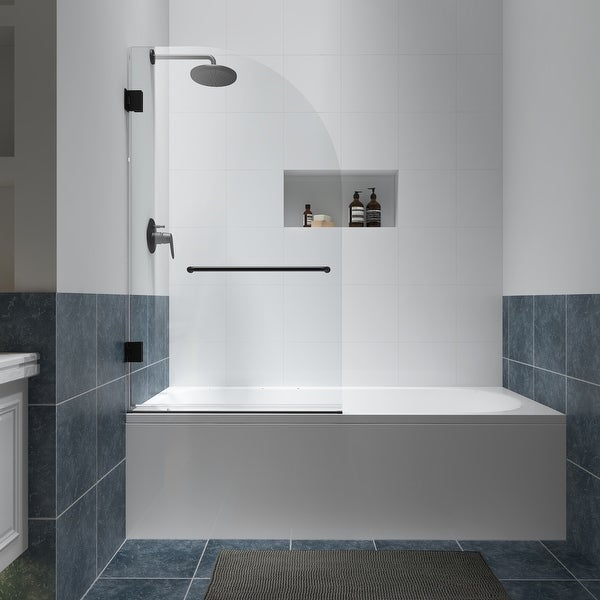 """FELYL 34"""" W x 58"""" H Hinged Frameless Tub Door with Heat Soaking Process and Protective Coating Clear Glass. Opens flyout."""