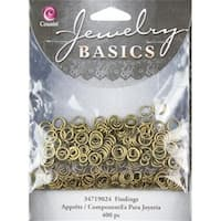 150179 Jewelry Basics Metal Findings 400-Pkg-Antique Gold 4mm-6mm