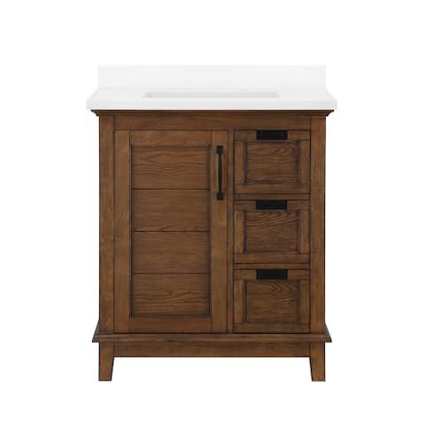 Ove Decors Pembroke 30 in. Single Sink Bathroom Vanity in Antique Coffee with Ash Veneer