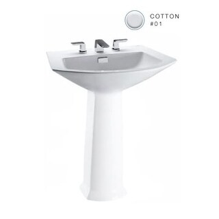 "Toto LT962 Soiree 25-1/8"" Pedestal Bathroom Sink with Single Faucet Hole Drilled and Overflow - Less Pedestal"