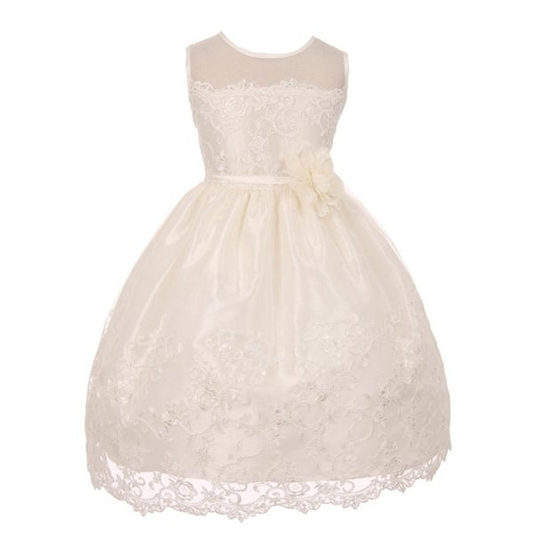 Good Girl Little Girls Off-White Mesh Embroidered Flower Girl Dress