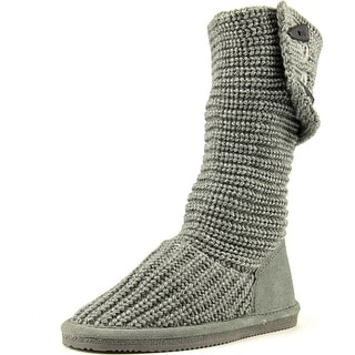 Bearpaw Knit Tall Youth Round Toe Canvas Gray Winter Boot