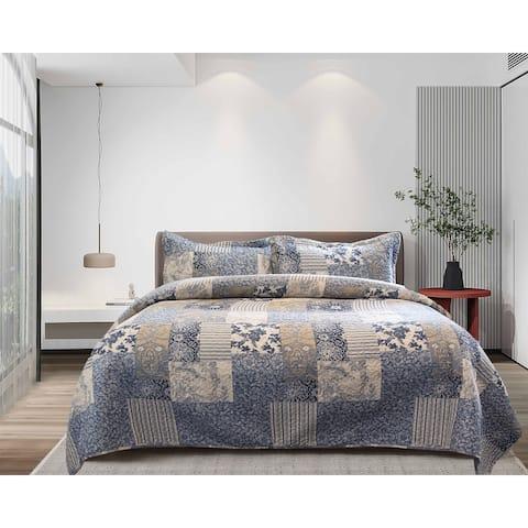 Patchwork Blue Quilt Set - Twin