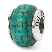 Sterling Silver Reflections Blue Magnesite Stone Bead (4mm Diameter Hole)
