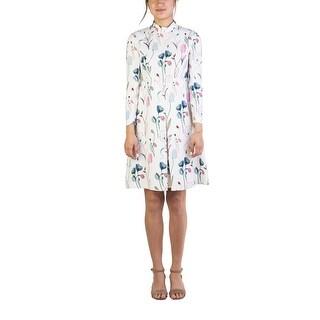 Miu Miu Women's Viscose Floral Print Dress White - 6