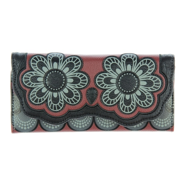 Loungefly Black Grey And Burgundy Owl with Flower Eyes Snap-Closure Wallet - One Size Fits most