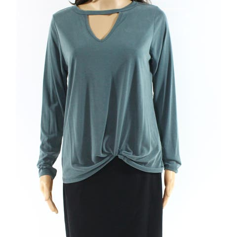 Moa Moa Green Womens Size Medium M Long Sleeve Keyhole V-Neck Top