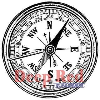 "Deep Red Cling Stamp 2""X2""-Compass"
