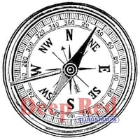 """Deep Red Cling Stamp 2""""X2""""-Compass"""