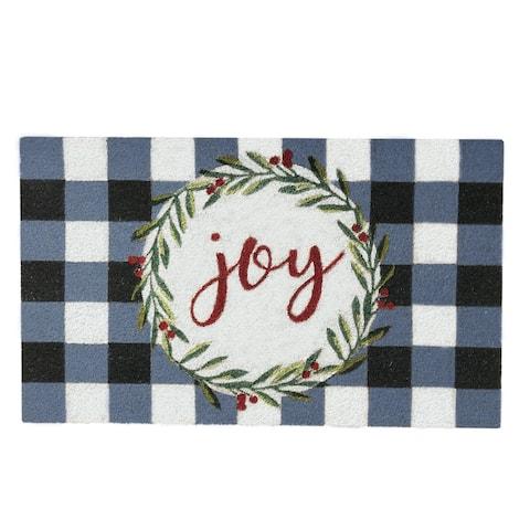 Farmhouse Living Holiday Joy Wreath with Plaid Coir Doormat