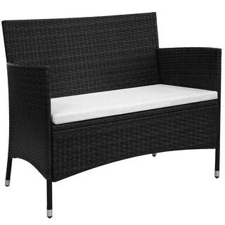 "vidaXL Garden Bench Poly Rattan Wicker Black Outdoor Seat Chair Patio Dining - 41.7"" x 23.6"" x 33"""
