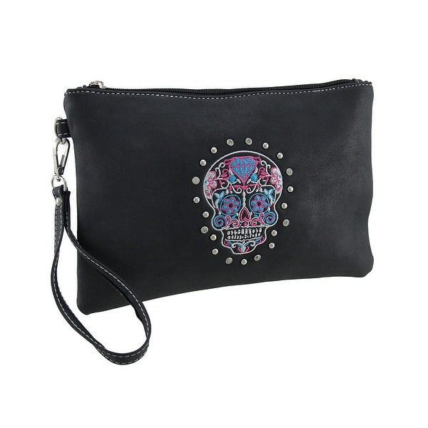 Faux Leather Embroidered Day of the Dead Sugar Skull Wristlet Purse