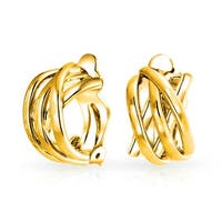 Bling Jewelry Gold Plated Alloy Criss Cross Modern Half Hoop Clip On Earrings