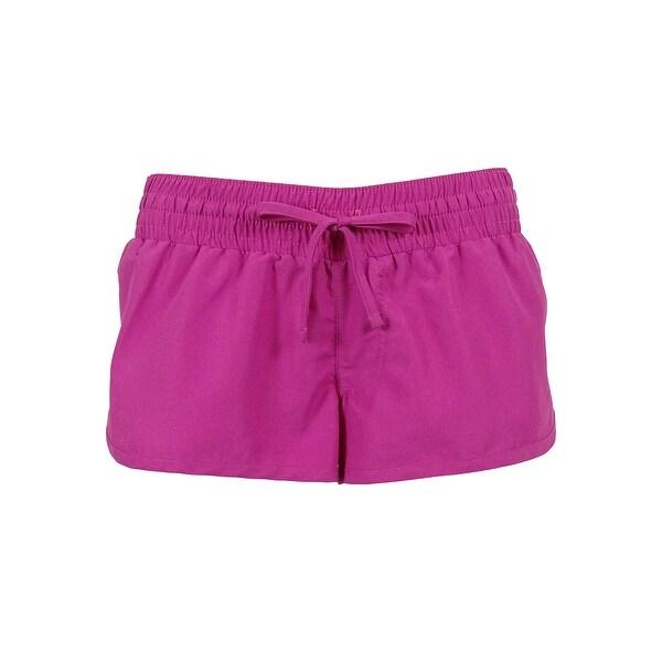 Miken Womens Elastic Waist Swim Cover Shorts L Navy//Pink