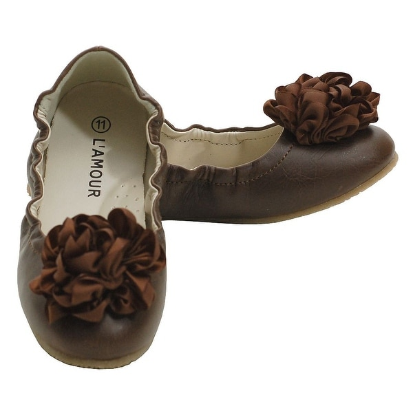 708d6e8ec8f86 L'Amour Brown Slip On Ballet Dress Shoes Toddler 5-Little Girls 4